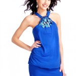 Blue Halter Summer Cocktail Dress 2010