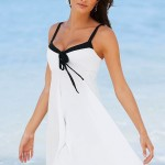White Summer Dress with Black Straps