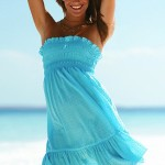 Blue Strapless Summer Beach Dress 2010