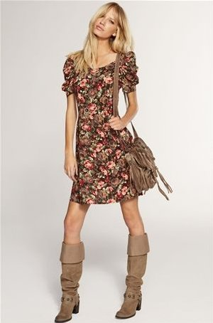 earthy toned floral summer dress