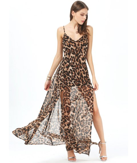 long leopard maxi summer dress by sheinside