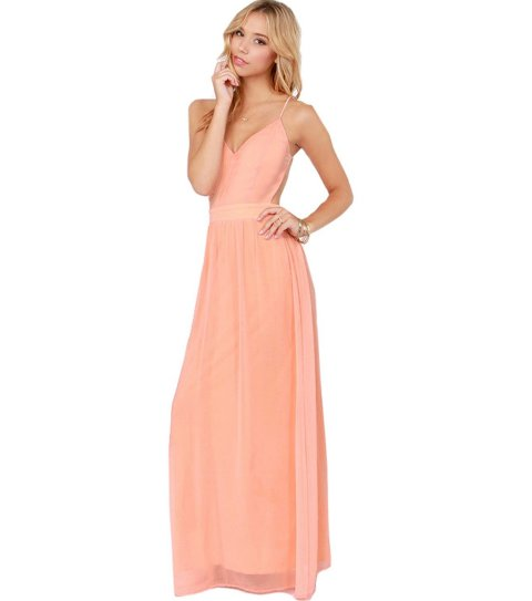 sexy long peach summer dress with low back by sheinside
