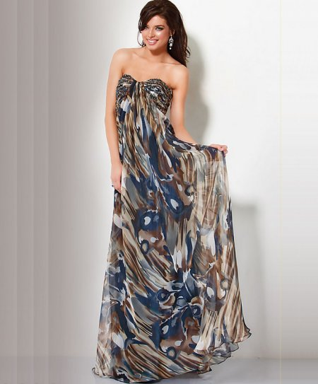 long strapless print summer dress 2011