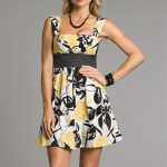 Black & White Summer Dress with Yellow Flowers 2011