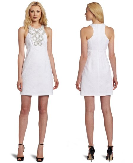Halter White Summer Dress 2012 With Beaded Bodice