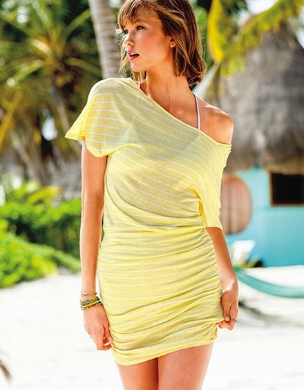 cute off the shoulder yellow summer dress 2013