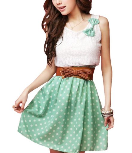 cute white green polka dot summer dress 2013