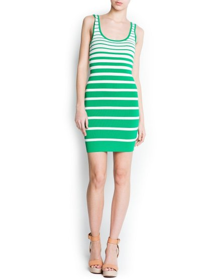 white green striped summer dress by mango 2013