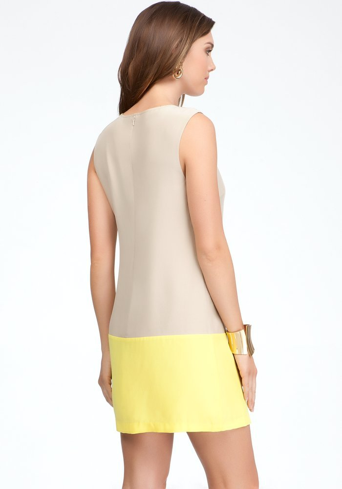 yellow beige summer shift dress 2013-back