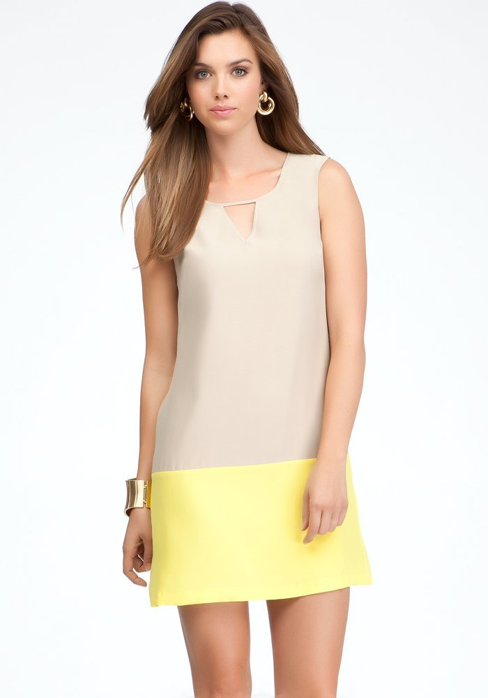 yellow beige summer shift dress 2013