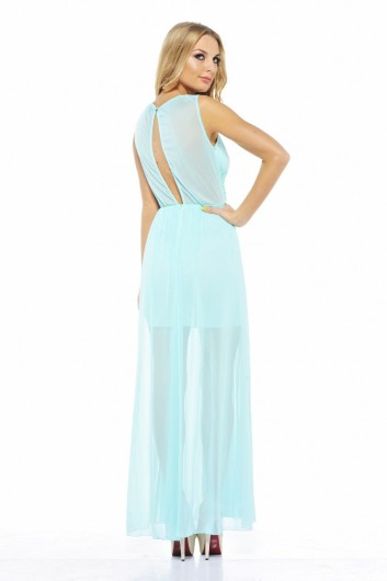 aqua blue maxi summer dress 2013