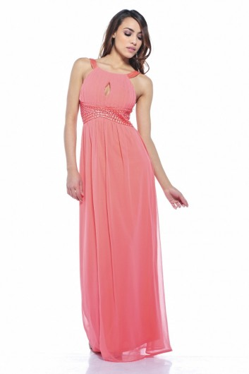 beautiful coral maxi summer dress 2013