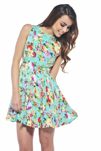 floral blue summer skater dress 2013