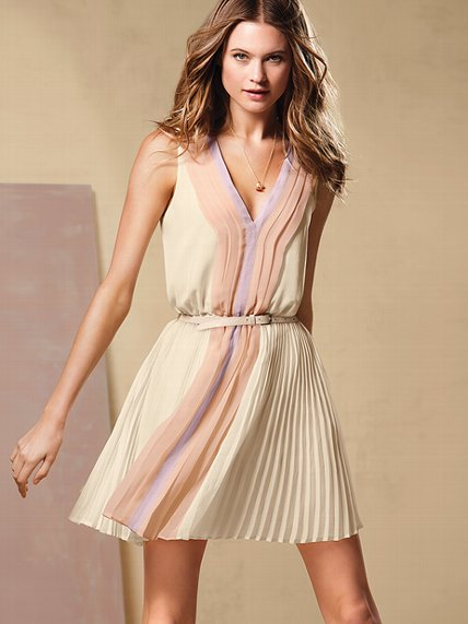 ivory lilac colorblock summer dress 2013 by victoria secret