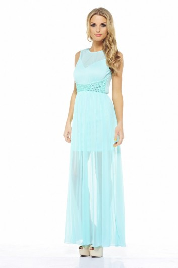 light blue maxi summer dress 2013 with mesh
