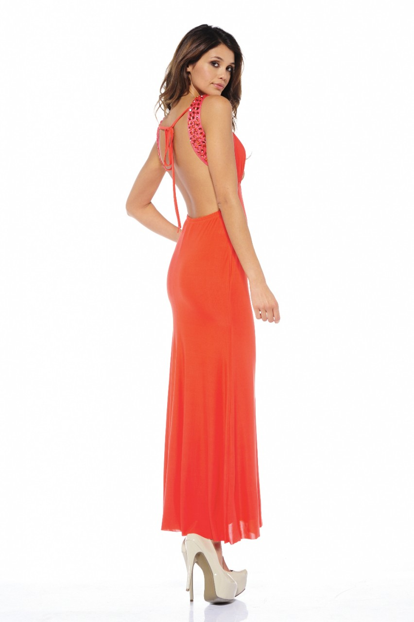 open back orange jewel summer dresses 2013