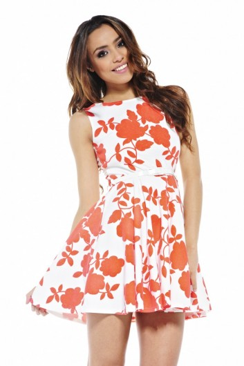 white orange floral summer dress 2013
