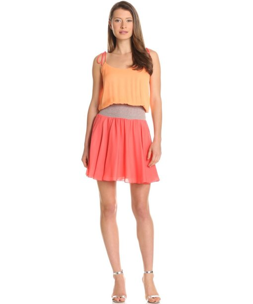 orange-coral color block summer dress 2013