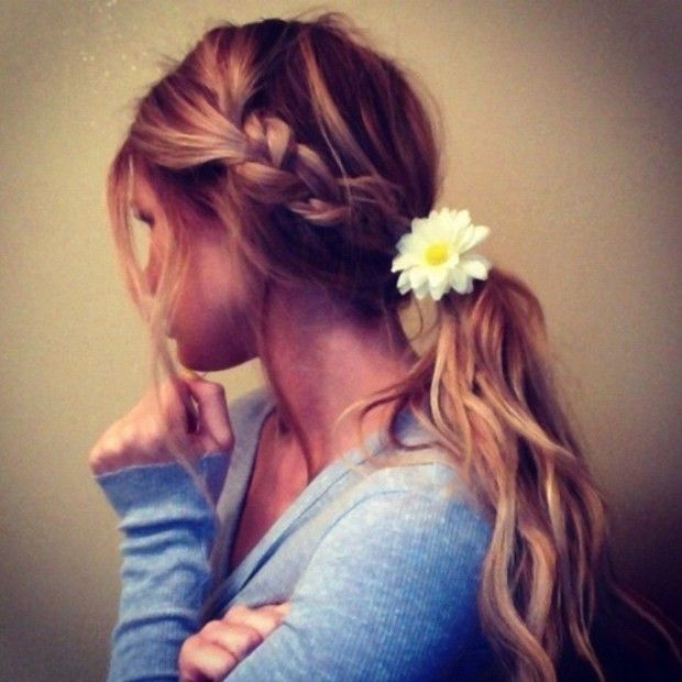 cute summer ponytail with side braid 2013