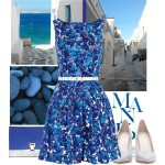 Floral Blue Cocktail Summer Dress 2014