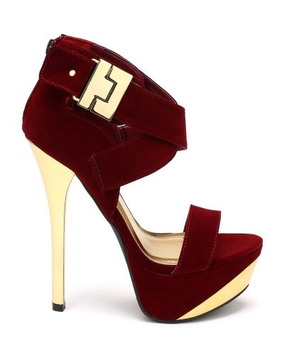 Red Velvet High Heel Summer Sandals 2014