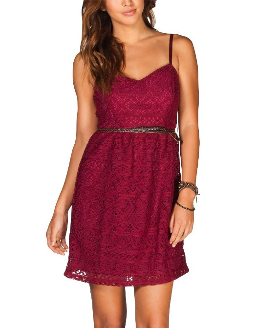 burgundy short crochet summer dress 2014