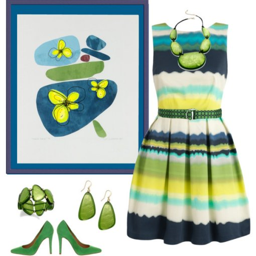 striped summer dress with green accessories