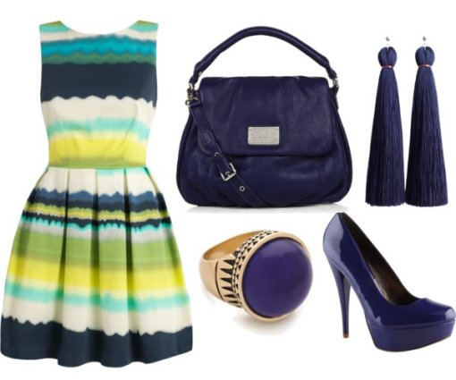 striped summer dress with navy accessories