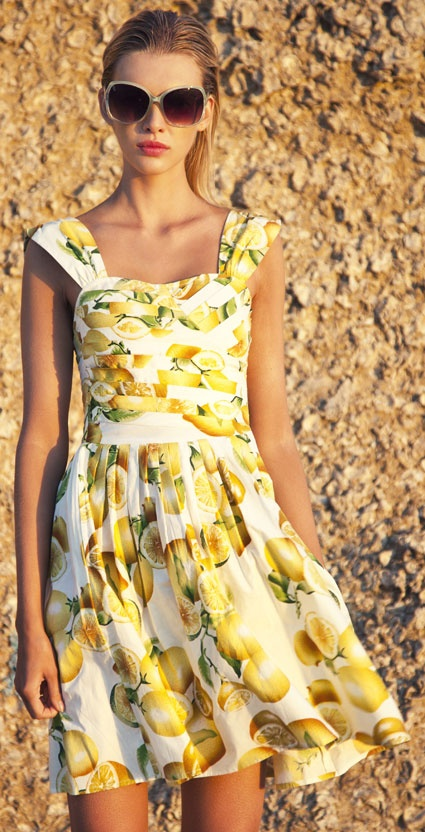 lemon print summer dress 2014