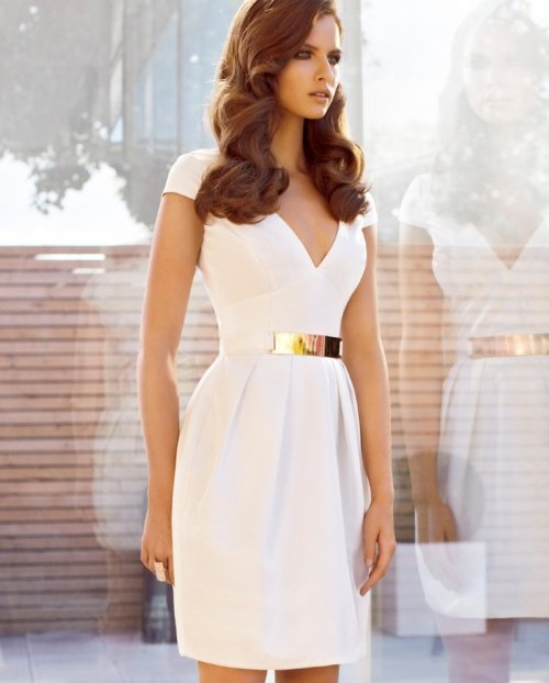 white summer dress with gold belt