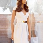Classic White Summer Dress with Gold Belt 2014