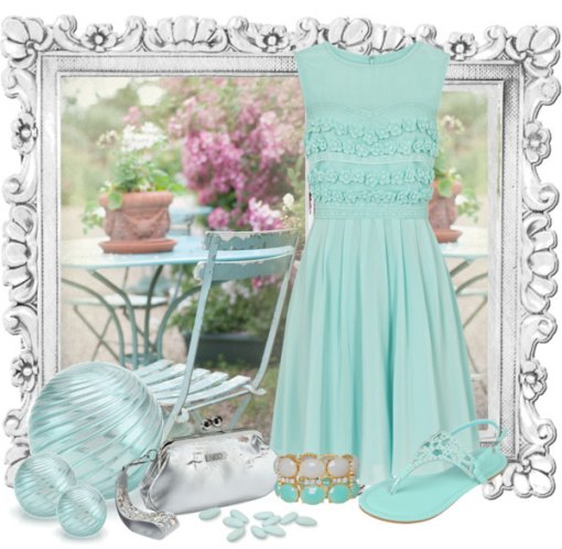 blue summer dress 2014 with silver accessories