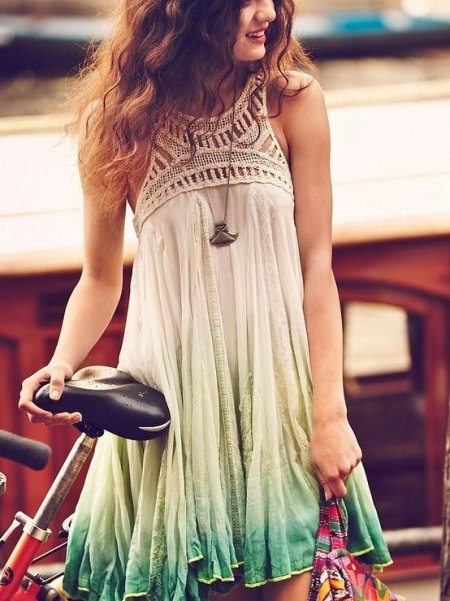 cute ombre white green summer boho dress 2014