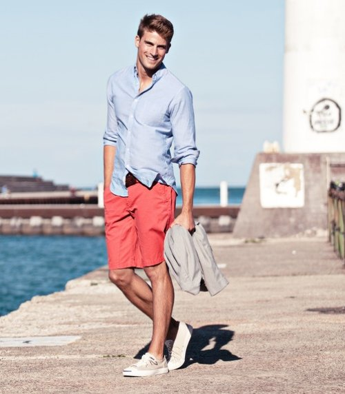 orange shorts and blue shirt for men