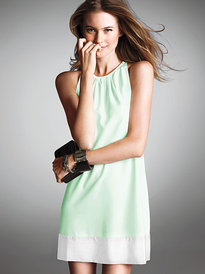 colorblock green white summer dress 2014