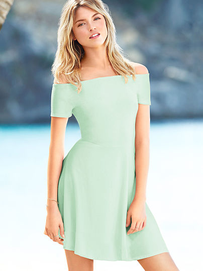 green fit and flare summer dress 2014
