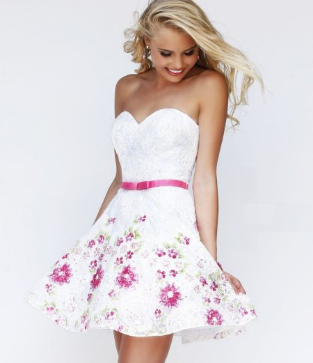 white floral summer cocktail dress 2014