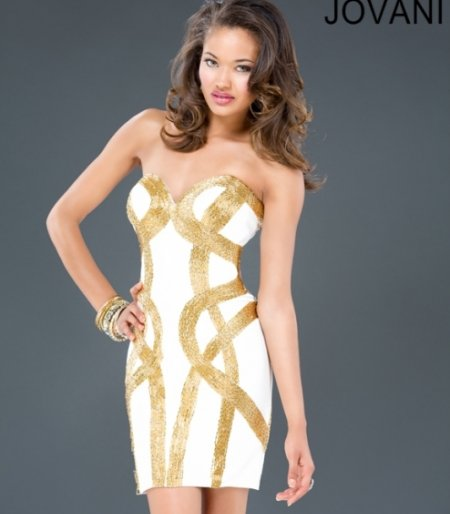 white gold summer cocktail dress 2014