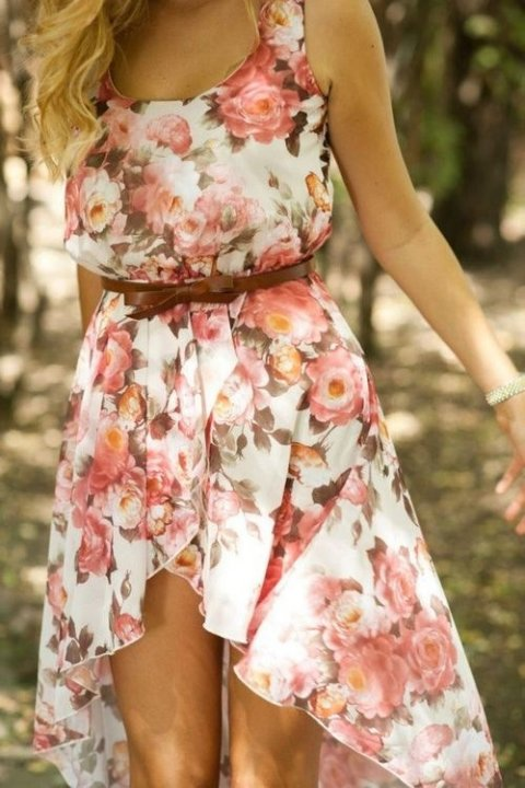 beautiful high low floral summer dress 2014