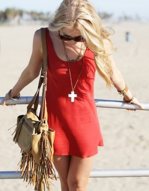 casual short red summer dress 2014