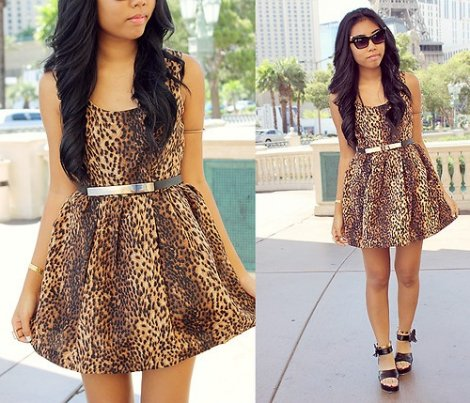 cute leopard summer skater dress 2014