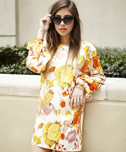 floral summer dress 2014 long sleeves