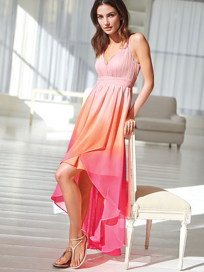 orange pink ombre maxi summer dress 2014