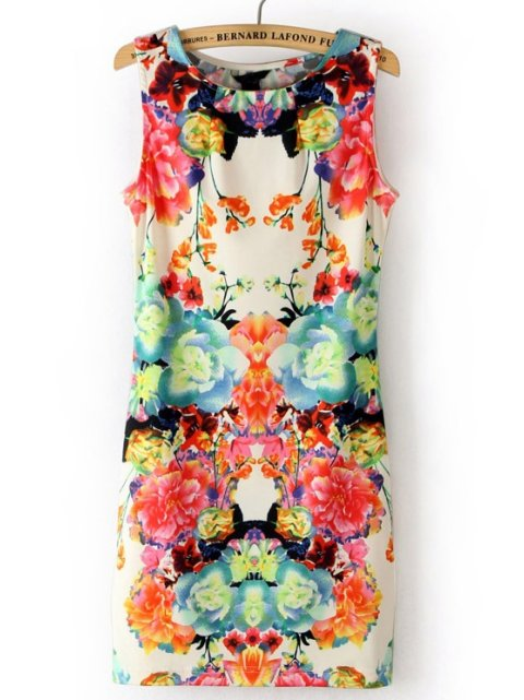 sexy white floral bodycon summer dress 2014 Sheinside