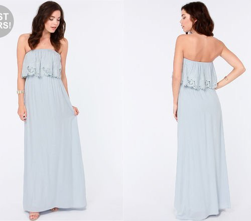 strapless light blue pastel maxi summer dress 2014