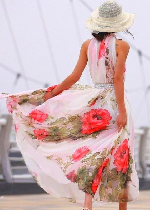 white flowy dress 2014 with red floral print
