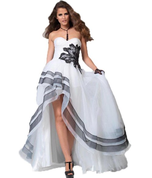 black and white high low summer wedding dress 2014