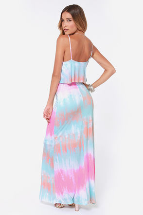 blue-pink tie dye maxi summer dress 2014-