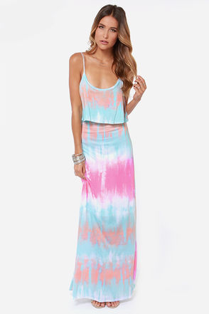 blue-pink tie dye maxi summer dress 2014