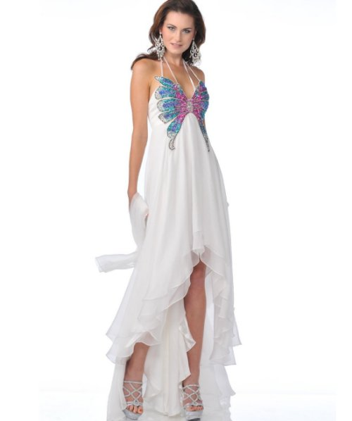 butterfly high low summer wedding dress 2014